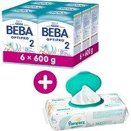 BEBA OPTIPRO 2  (6× 600 g) + 3× Vlhčené ubrousky Pampers Sensitive - Kojenecké mléko