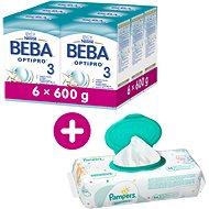 BEBA OPTIPRO 3  (6× 600 g) + 3× Vlhčené ubrousky Pampers Sensitive - Kojenecké mléko