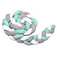 Mantinel do postýlky T-tomi Pletený mantinel 360 cm, white + grey + mint