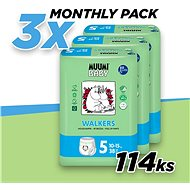 MUUMI BABY Walkers Maxi+ vel. 5 - měsíční balení (114 ks) - Eko plenkové kalhotky
