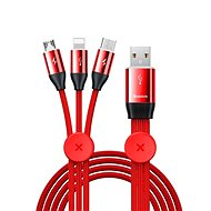 Baseus Car Co-sharing 3in1 Cable USB 3.5A 1m Red - Napájecí kabel