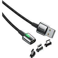 Baseus Zinc Magnetic Cable Kit microUSB + USB-C + Lightning 2m Black - Datový kabel