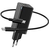 Baseus GaN Dual USB-C Quick Travel Charger 45W + Type-C (USB-C) Cable 60W 1m Black - Nabíječka do sítě