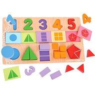 Velká deska s vkládáním - Čísla, barvy, tvary - Didaktická hračka