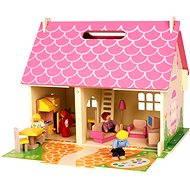 Přenosný dřevěný domeček pro panenky - Doplněk pro panenky