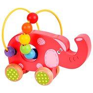 Bigjigs Elephant Push Along Bead Frame - Educational toy