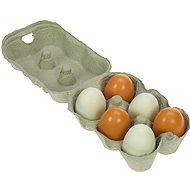 Dřevěné potraviny - Dřevěná vajíčka v krabičce - Herní set