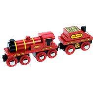 Bigjigs Červená lokomotiva s tendrem - Příslušenství k vláčkodráze