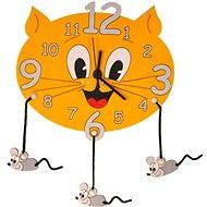 Dětské dřevěné hodiny - Kočka s myškami - Hodiny do dětského pokoje