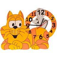 Dětské dřevěné hodiny - Kočka s myškou - Hodiny do dětského pokoje