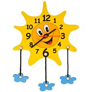 Wooden Sunshine with clouds - Children's Clock