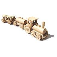 Dřevěný přírodní vláček - Nákladní vlak - Dřevěný model