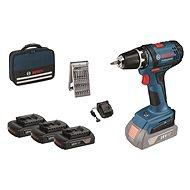BOSCH GSR 18- 2 Li 2 x 1,5Ah + Fabric Case + 25 Piece Set of Bits + 1x Free Battery - Cordless Drill