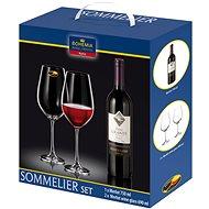 Bohemia Royal Crystal Sada sklenic na červené víno 2ks 690 ml + víno Merlot 750ml - Sklenice na studené nápoje