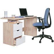 Psací stůl Brüxxi Samo se zásuvkami 120 cm, Sonoma dub/bílý - Psací stůl