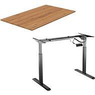 AlzaErgo Table ET2 černý + deska TTE-03 160x80cm bambusová - Výškově nastavitelný stůl