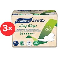VUOKKOSET 100% BIO Long Wings Thin 3 × 10 ks - Eko menstruační vložky