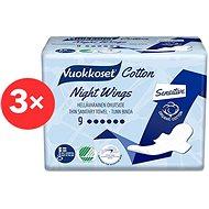 VUOKKOSET Cotton Night Wings 3 × 9 ks - Eko menstruační vložky
