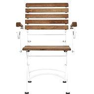PARKLIFE Skládací židle s područkami hnědá/bílá - Zahradní židle