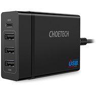 Nabíječka do sítě ChoeTech Multi Charge USB-C PD 60W + 3x USB-A Charging Station Black