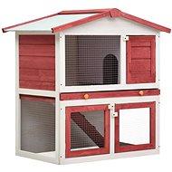 Shumee Zahradní králíkárna 3 dvířka dřevěná červená 94 × 60 × 98 cm - Králíkárna