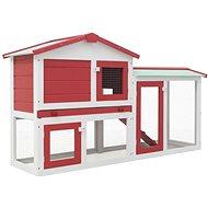 Shumee Králíkárna velká venkovní dřevo červeno-bílá 145 × 45 × 85 cm