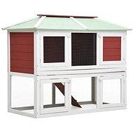 Shumee Králíkárna dvoupatrová dřevěná červená 130 × 68 × 105 cm - Králíkárna