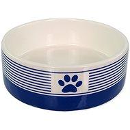 Dog Fantasy DF Ceramic Dog Bowl, Striped with Paw, Dark Blue - Dog Bowl