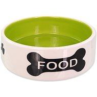 Dog Fantasy DF Ceramic Dog Bowl, Bone Print, White-green - Dog Bowl
