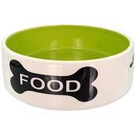 Dog Fantasy DF Ceramic Dog Bowl Bone Print, White-green 770ml - Dog Bowl