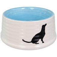 Dog Fantasy Bowl DF Ceramic Dog Bowl, Dog Motif White-Blue 440ml - Dog Bowl