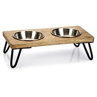 PetAmour DBL Karinto Double Wooden Bowl 31 × 16 × 10cm - Dog Bowl