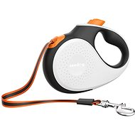 Reedog Senza Premium samonavíjecí vodítko L  50 kg / 5 m páska / bílé s oranžovou - Vodítko pro psa