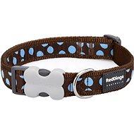 Red Dingo Dog Collar, Blue Spots on Brown