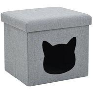 Shumee Skládací pelíšek pro kočky z umělého lnu šedý 37 × 33 × 33 cm - Pelíšek