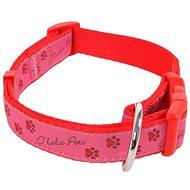 Olala Pets obojek tlapky 15 mm x 30-50 cm, růžová - Obojek pro psy