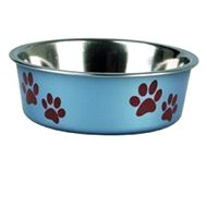Karlie-Flamingo Stainless-steel Bowl with Plastic Sheathing, Metallic Blue, 23cm, 2200ml - Dog Bowl
