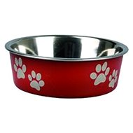 Karlie-Flamingo Stainless-steel Bowl with Plastic Sheathing, Red, 21cm, 1500ml - Dog Bowl