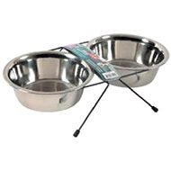 Zolux STEEL Stainless Steel Bowl Stand + 2 Bowls, 0.35l - Dog bowl