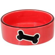 DOG FANTASY Ceramic Bowl with Bone Print, Red, 12,5 × 4,5cm, 0,29l - Dog Bowl