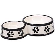 DOG FANTASY Ceramic Paw Print Double Bowl, White 25 × 15.5 × 5.5cm 0.42l - Dog Bowl