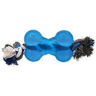 DOG FANTASY hračka strong kost guma s provazem modrá 13,9  cm - Hračka pro psy