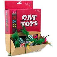 MAGIC CAT hračka míček s pruhy a pírky bavlna 4,5 cm 30ks - Míček pro kočky