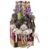 Hračka pro kočky MAGIC CAT hračka prut s myškou a rolničkou catnip 17 cm + 49 cm 24ks