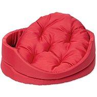 DOG FANTASY pelech oval s polštářem 48×40×15cm červený - Pelíšek pro psy
