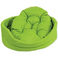 DOG FANTASY Oval Dog Bed with Pillow, 48 × 40 × 15cm, Green - Dog Bed