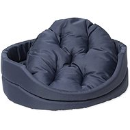 DOG FANTASY Oval Dog Bed with Pillow, Dark Blue - Dog Bed