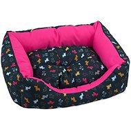 DOG FANTASY Sofa 63×53×18cm origami pes mix černo-růžová - Pelíšek pro psy