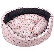 DOG FANTASY pelech oval 54×46×16cm piktogram mix růžový - Pelíšek pro psy