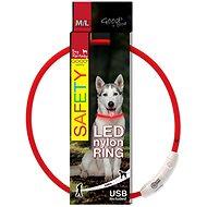 DOG FANTASY obojek LED nylon červený 65cm - Obojek pro psy